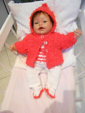 ensemble veste capuche  fait main pr poupée de collection  reborn, baigneur 40cm