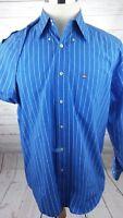 Vtg Tommy Hilfiger Box Logo Striped Shirt Men's Size Large