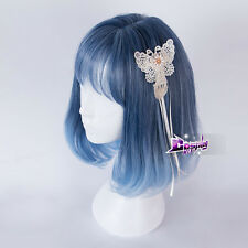 Mixed Blue Purple Short Daily Cute 30CM Cosplay Wig Heat Resistant