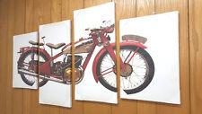 4pc Canvas Art Set Classic Vintage Motorcycle