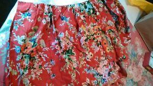 """Ralph Lauren Belle Harbor Bed Skirt Dust Ruffle Full Queen KING  RED 18"""" Drop"""
