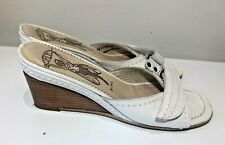 Fly girl white leather low wedge mules sandals shoes size 5