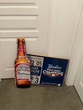 2009 Budweiser Beer New York Yankees Baseball Tin Bar Sign