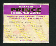 Original 1992 Prince concert ticket stub Earls Court London Diamonds And Pearls