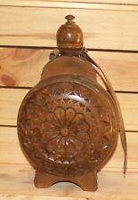 Vintage folk floral carved wood wine/brandy bottle pitcher flask