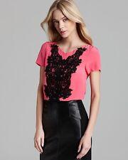 NWT XS 0 NANETTE LEPORE Blouse Pink Peach Black Lace Embroidery Dress Shirt $298