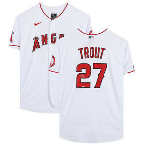 MIKE TROUT Autographed Angels White Authentic Nike Jersey MLB AUTHENTIC
