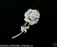 LONG STEM ROSE FLOWER BROOCH PIN BIRTHDAY GIFT FOR HER WOMEN MOM GIRL FRIEND