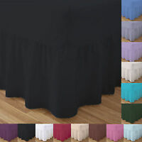 Percale Valance Sheets 180 Thread count Bed Double Single Super King Size Dyed