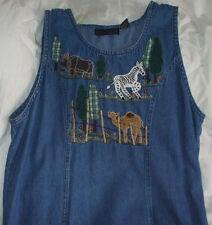 Sz L Large New Directions Jean Dress Womans Denim Rhino Zebra Camel