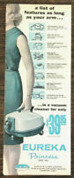 1962 Eureka Princess Vacuum Cleaner Ad A List of Features As Long as Your Arm