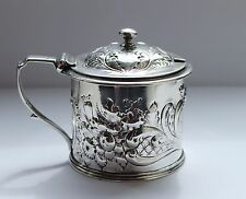 RARE & SUBSTANTIAL SOLID SILVER MUSTARD POT LONDON 1841