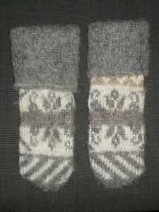 VINTAGE ICELANDIC ICELAND GRAY WOOL KNIT MITTENS WOMEN'S ONE SIZE OS