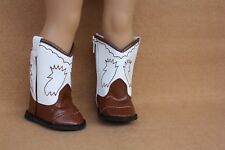Doll Clothes fitting 18 in American Girl Western White & Brown Embroidered Boots