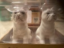 French Bulldog Salt And Pepper Shakers American Atelier New In Box White W/ Gray