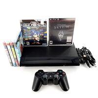 Sony PlayStation 3 Super Slim 12GB Black Console Bundle Lot w/ 6 Games Tested