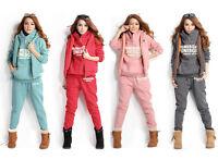 3Pcs Winter Warm Thick Women Sports Hoodies Suit Tracksuit Coat Pants Vest Set