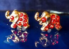 Ohrstecker Ohrring Elefant vergoldet mit Kristall rot
