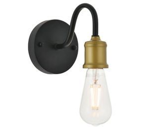 "Elegant Lighting Serif Single Light 5"" Tall Bathroom Sconce - Brass / Black"
