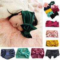 E91C Soft Baby/ Girls Kids Toddler Bow Hairband Headband Turban Big Knot Head-Wr