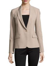 Theory Gabe B Blazer Jacket Beige Natural Tan One Button Long Sleeve 10 M Wool