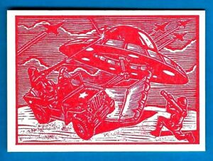 TOPPS 2015 MARS ATTACKS OCCUPATION *WOOD CUT ART CARD MA-LP 6 THE ARMY FIGHTS...