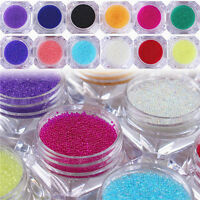 1 Box Klar Kaviar Perlen Nagel Dekoration 3D Glas Maniküre 12 Farben DIY