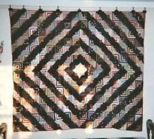 BARNRAISING LOG CABIN Quilt, c1890-1910, from PA, 68 x 76, Wools, Silks, Cottons