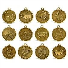 "SET OF 12 CHINESE ZODIAC CHARMS 1"" Pendant Amulet Lucky Metal Coin Horoscope"