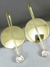 MODERN ETOILE DIAMOND 18K YELLOW GOLD HANGING ROUND SHAPE EARRINGS ITALY APE1856