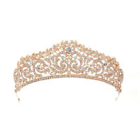 Wedding Bridal Gold plated Crystal Rhinestone Tiara Crown Headband Party New  fi