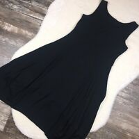 COMFY USA Womens Dress Large Lisa Black Sleeveless Tank Lantern Hem