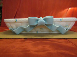 "Decorative Ceramic Shelf White with Blue Ribbon 19"" by 6""  Home Decor"