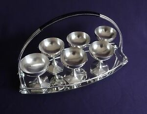 French Art Deco Silverplated Liqueur Coupes & Tray - Barware Liqueurs