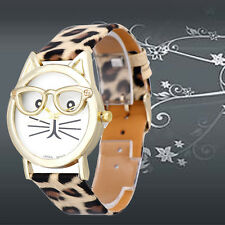 Cute Glasses Cat Women Stainless Steel Leather Analog Quartz Dial Wrist Watch