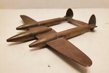 Wwii P-38 Lightning Fighter brass Airplane 1940's trench art folk