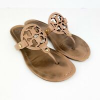 Tory burch Miller Nude Makeup Leather Sandals Flip Flops Womens Size 8M w/ Bag