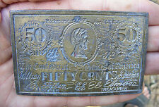 Vtg CONFEDERATE NOTE Belt Buckle CIVIL WAR Fifty Cents 3D Brass CDC 50 RARE VG++