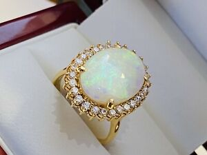 18K Yellow Gold Natural 6.0 Ct Opal & Diamonds Cocktail Ring..Size 7..No Reserve