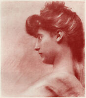 CELINE LAGUARDE, Profile 1905 Full-Plate Halftone French Pictorialism
