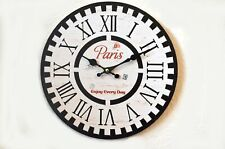 Wanduhr Holz Paris Nostalgie schwarz weiß Küchenuhr Shabby 28cm