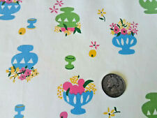 Vintage mid century flower bowls on yellow cotton fabric curtains drapes panels!