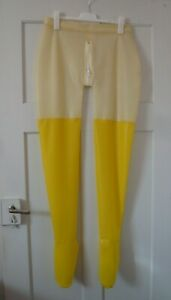 XL Latex Strumpfhose Pants Zipper ouvert Gummi Rubber transparent-gelb Unisex