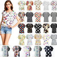 Fashion Women's Floral Short Sleeve Loose Blouse Casual Shirt Summer Top T-Shirt