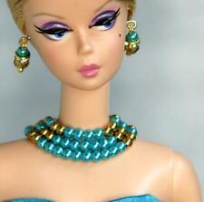 Handmade doll jewelry necklace earrings fits Barbie dolls #001
