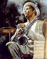 Dream-art Oil painting impressionism male portrait jazz saxophonist on canvas