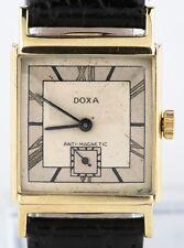 Doxa Vintage 14k Oro Amarillo Hombres Correa Manual Reloj W/ Correa de Cuero