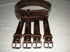 Dolls Pram Coach built vintage pram real leather  suspension straps in Brown