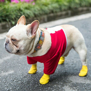 4PCS Anti-Slip Unisex Pet Dog Waterproof Shoes Protective Rain Boots Dog Booties