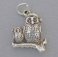 New Sterling Silver Charm Pendant 3D OWLS CHRISTMAS HATS 3582